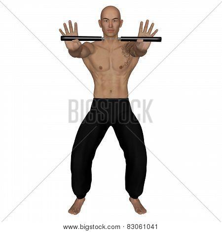 Kung Fu Monk With Nunchaku