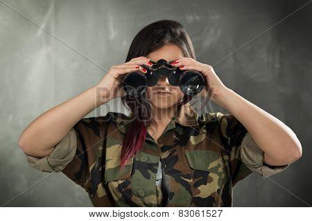 Female Soldier With Binocular