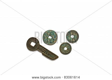 Ancient Chinese  Bronze Coins On White Background