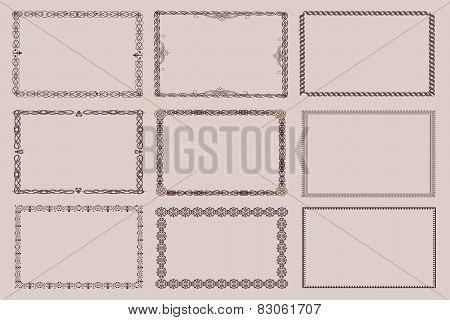 Vector decorative frames, set 9