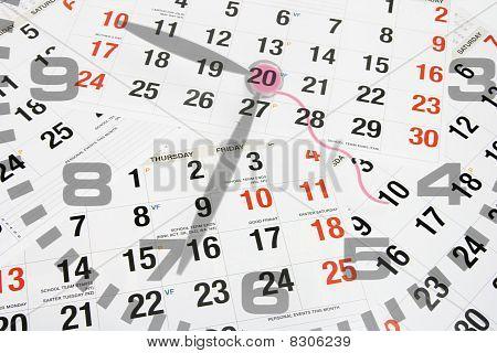 Páginas de calendário e relógio