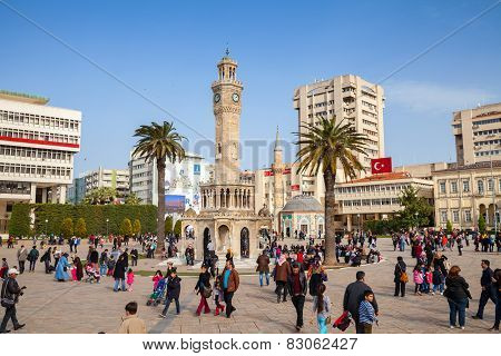 Konak Square With Crowd Of Tourists, Izmir, Turkey