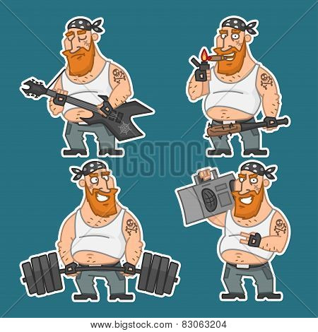 Biker in various poses set stickers 2