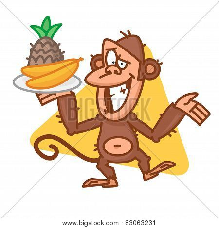 Monkey holding tray with fruit