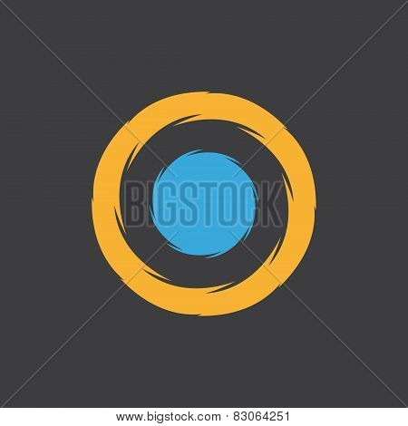 Unusual round logo with a blue dot in the center