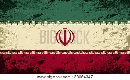 Iranian flag. Grunge background. Vector illustration