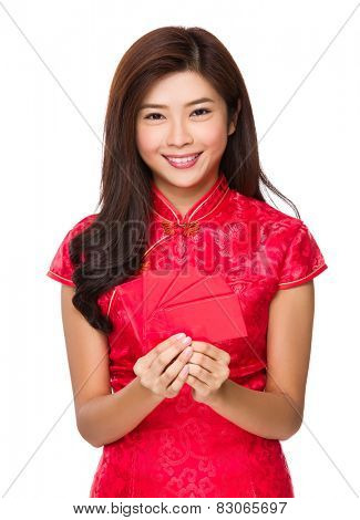 Chinese woman with red pocket for lunar new year