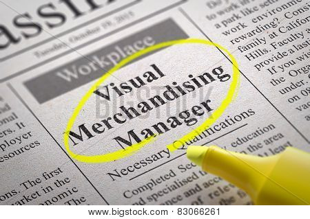 Visual Merchandising Manager Vacancy in Newspaper.