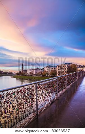 Padlocks Of Love On A Bridge Of Salzburg