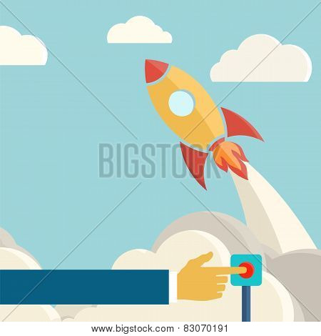 Rocket launch retro background. Vintage poster.