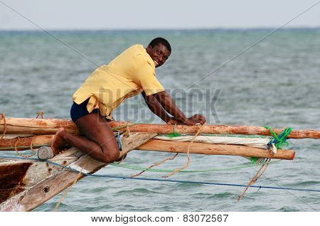 Black African Fisherman, Untie Rigging Sailing Fishing Boat.