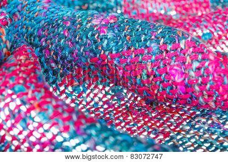 Multicolored Texture Of Woolen Handmade Scarf