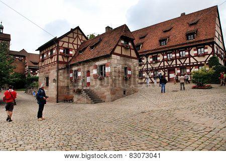 NURNBERG, GERMANY - JULY 13 2014. Houses in Imperial Castle Nuremberg in Germany