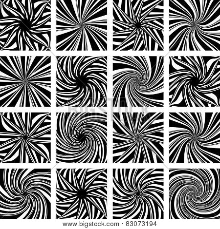 Rotation and twisting movement. Abstract design elements set. Vector art.