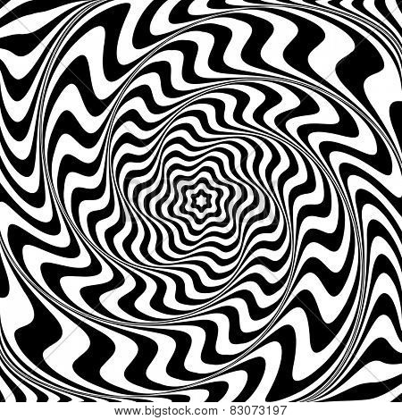 Illusion of  whirlpool movement. Abstract op art illustration. Vector art.