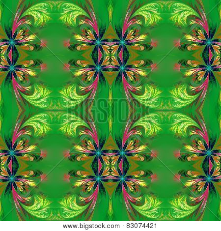 Beautiful Symmetrical Background From Fractal Tracery. On Green.