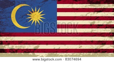 Malaysian flag. Grunge background. Vector illustration