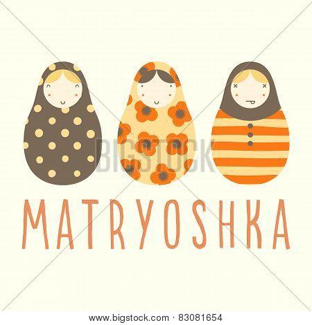 Three matryoshka dolls.