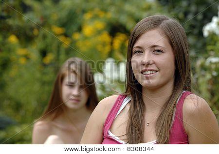 Teenage Girls In The Garden