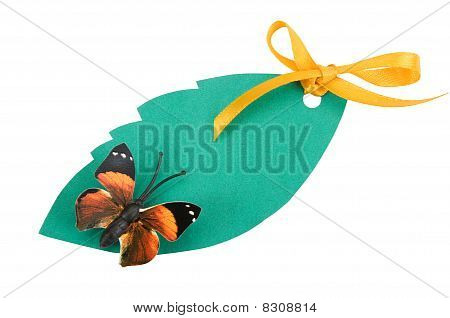 Tag Green Color With A Butterfly