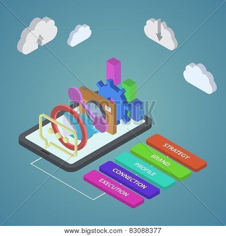 isometric illustration of seo optimization. SEO concept flat sty