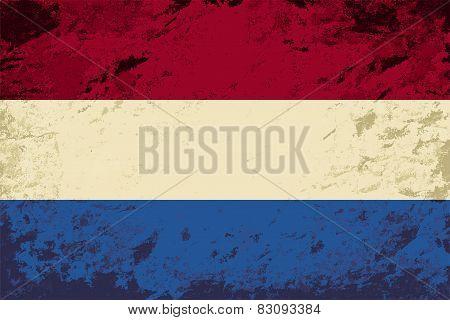 Dutch flag. Grunge background. Vector illustration