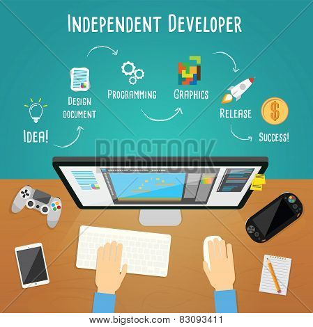 Independent Game Developer Vector Illustration