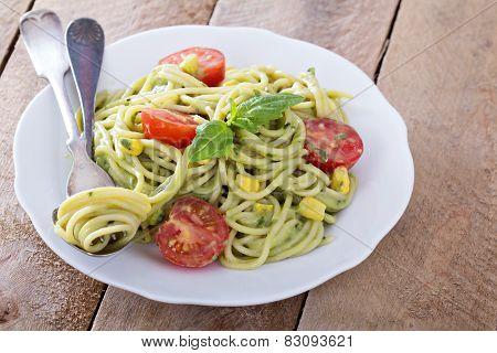 Vegan pasta with avocado sauce