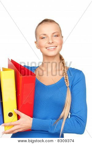 Young Attractive Businesswoman With Folders