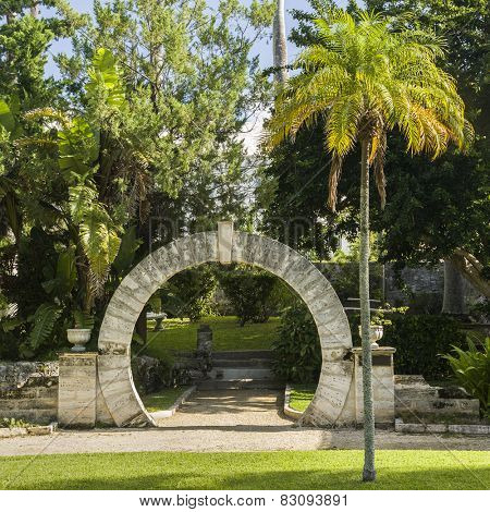 A traditional moon gate in a park in St. Georges, Bermuda.