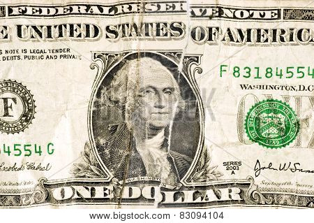 Close Up Shot Of Worn Out Dollar