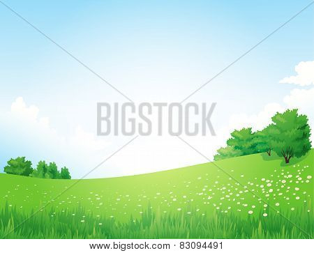 Green Landscape with trees clouds flowers