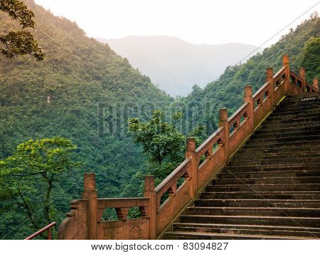 Stairs leading to summit of Mount Emei