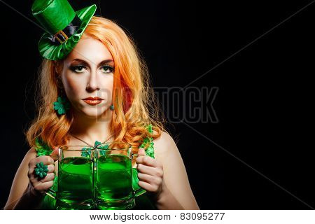 Girl wearing leprechaun