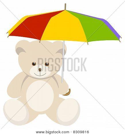 Teddy bear with umbrella.