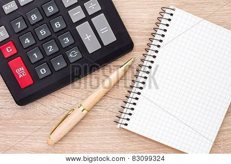 Notebook, Ballpen And Calculator