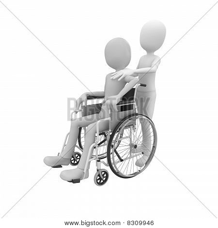 3D Man With Wheel Chair