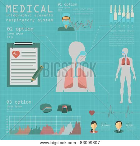 Medical and healthcare infographic, respiratory system infographics