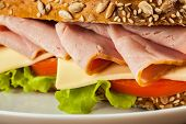 stock photo of tomato sandwich  - Ham sandwich with lettuce - JPG