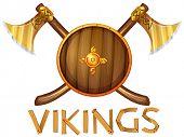 foto of viking  - Illustration of vikings sheild and axes - JPG