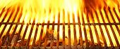pic of flame-grilled  - Flaming Empty Barbecue Grill Background and Texture - JPG