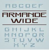 stock photo of extend  - Armande Wide Font Alphabet with Extended Sans Serif Letters and Rounded Characters - JPG