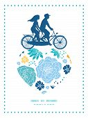 image of tandem bicycle  - Vector blue and yellow flowersilhouettes couple on tandem bicycle heart silhouette frame pattern greeting card template graphic design - JPG