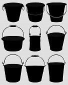 stock photo of bucket  - Black silhouettes of garden buckets - JPG