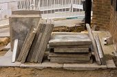 stock photo of paving stone  - a pile of paving stones on a construction site - JPG