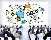 stock photo of seminars  - Start Up Business Launch Success Corporate Seminar Concept - JPG