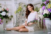 foto of allergy  - Young spring fashion woman in spring lux vintage interior - JPG