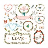 stock photo of ring-dove  - Elements for wedding invitations - JPG