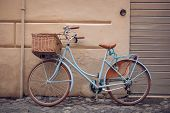stock photo of bicycle gear  - This is Blue vintage city bicycle with basket - JPG