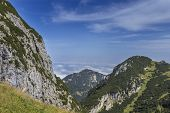 image of bavarian alps  - View from a mountain in the bavarian alps - JPG